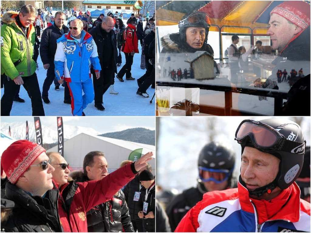 На фото Путин отдыхает в Сочи (красная Поляна).