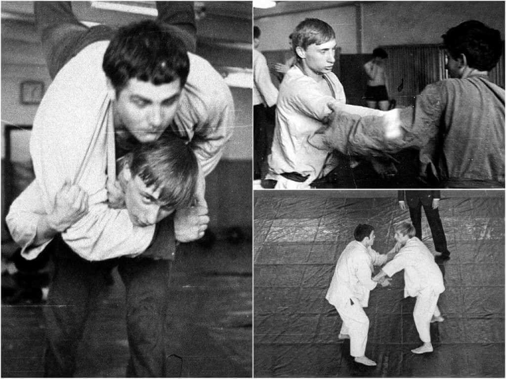 На фото Путин занимается спортом.