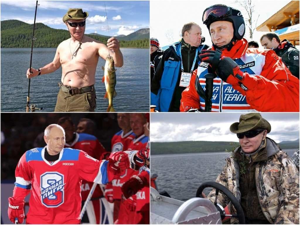 На фото Путин на отдыхе.
