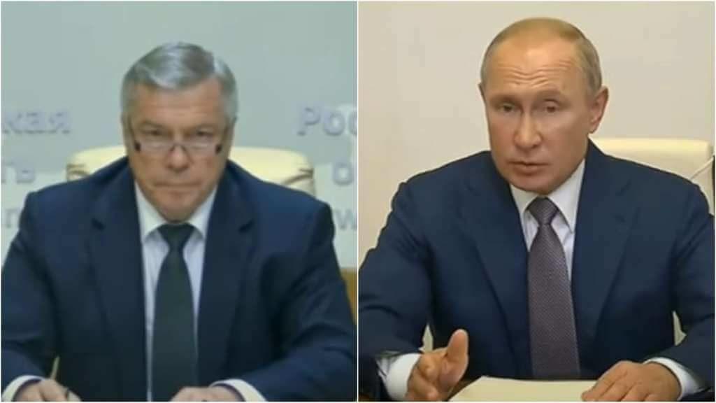На фото Василий Голубев (слева) и Владимир Путин (справа).
