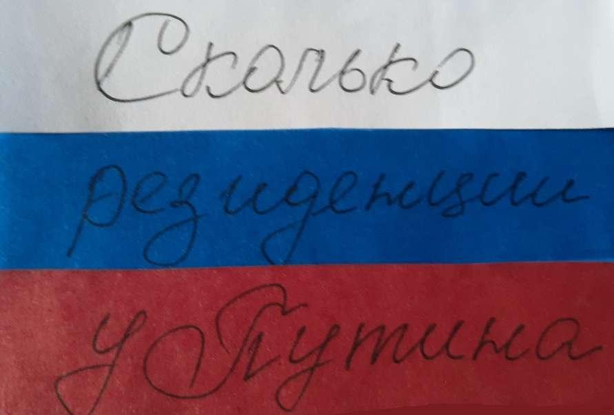"""На фото изображена надпись """"Сколько резиденций у Путина""""."""