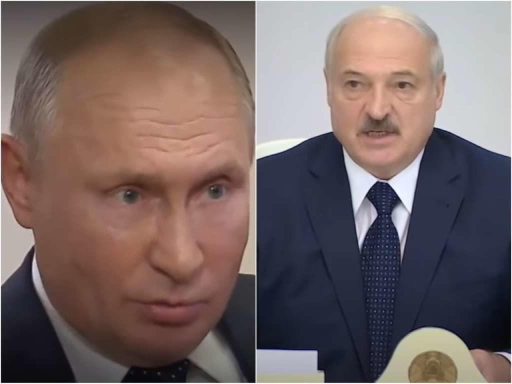 На фото изображен Путин (слева) и Лукашенко (справа).