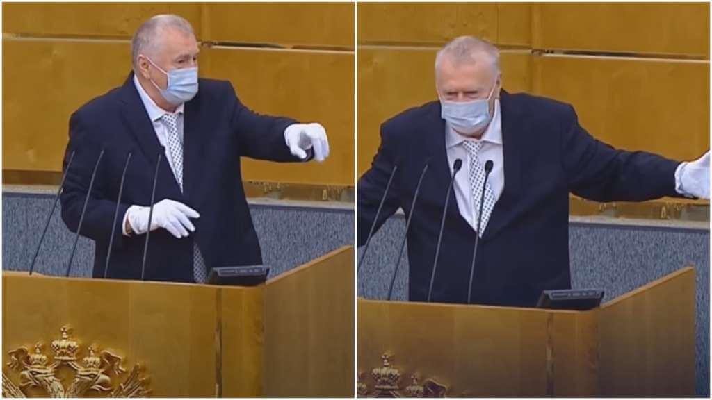 На фото Жириновский в маске.